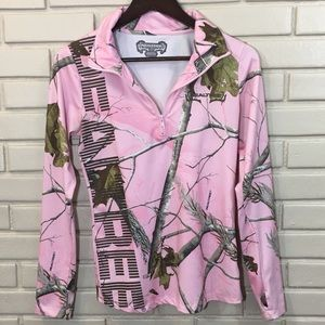 Realtree Pink Camouflage Half Zip Pull-Over Size L
